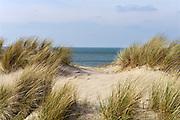 Nederland, The Netherlands, Domburg, 26-3-2016Duinen met een doorgang naar de zee . Helmgras behoudt het zand  .FOTO: FLIP FRANSSEN/ HH