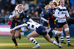 Brooke Bradley of Worcester Warriors Women is tackled - Mandatory by-line: Robbie Stephenson/JMP - 01/12/2019 - RUGBY - Sixways Stadium - Worcester, England - Worcester Warriors Women v Bristol Bears Women - Tyrrells Premier 15s