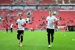 Bobby Reid of Bristol City and Joe Bryan wear t-shirts supporting children's hospice south west - Mandatory by-line: Dougie Allward/JMP - 04/03/2017 - FOOTBALL - Ashton Gate - Bristol, England - Bristol City v Burton Albion - Sky Bet Championship