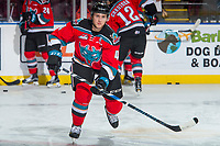 KELOWNA, CANADA - OCTOBER 28: Gordie Ballhorn #4 of the Kelowna Rockets warms up against the Prince George Cougars on October 28, 2017 at Prospera Place in Kelowna, British Columbia, Canada.  (Photo by Marissa Baecker/Shoot the Breeze)  *** Local Caption ***