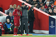 Liverpool Manager Jurgen Klopp gives instructions to substitute Liverpool forward Daniel Sturridge (15) during the Champions League Quarter-Final Leg 1 of 2 match between Liverpool and FC Porto at Anfield, Liverpool, England on 9 April 2019.