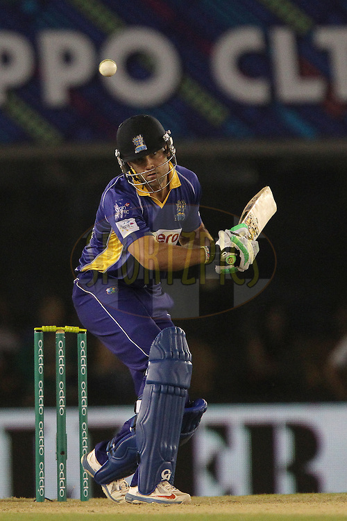 James Franklin of the Barbados Tridents avoids a rising delivery from Anureet SINGH of the Kings XI Punjab  during match 5 of the Oppo Champions League Twenty20 between the Kings XI Punjab and the Barbados Tridents held at the Punjab Cricket Association Stadium, Mohali, India on the 20th September 2014<br /> <br /> Photo by:  Ron Gaunt / Sportzpics/ CLT20<br /> <br /> <br /> Image use is subject to the terms and conditions as laid out by the BCCI/ CLT20.  The terms and conditions can be downloaded here:<br /> <br /> http://sportzpics.photoshelter.com/gallery/CLT20-Image-Terms-and-Conditions-2014/G0000IfNJn535VPU/C0000QhhKadWcjYs