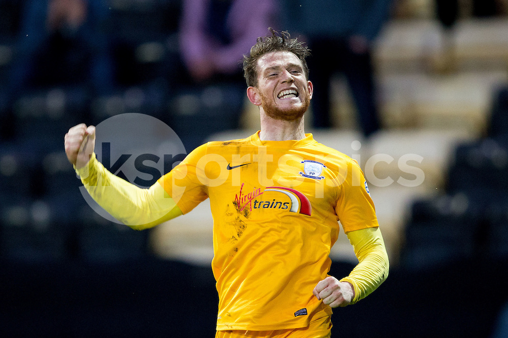 A Delighted Joe Garner after putting his Preston North End side 2-0 into the lead during the Sky Bet League 1 match between Notts County and Preston North End at Meadow Lane, Nottingham, England on 21 April 2015. Photo by James Williamson.