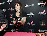"Lights, ""Artist Ambassador"" for Hard Rock's 2014 PINKTOBER program, greets fans at Hard Rock Cafe New York after launching its 15th annual breast cancer awareness campaign, Tuesday, Sept. 30, 2014.  (Photo by Diane Bondareff/Invision for Hard Rock International/AP Images)"