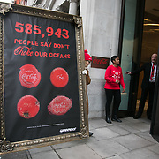 Greenpeace delivered a petition for Coca Cola to clean up their act and take responsibility for the plastic pollution they create. 585,943 people have signed the petition and Greenpeace delivered it to Coca Cola in a giant picture frame. Coca Cola is respinsibel for tons of plastic pollution and the sea are chocking on plastic.