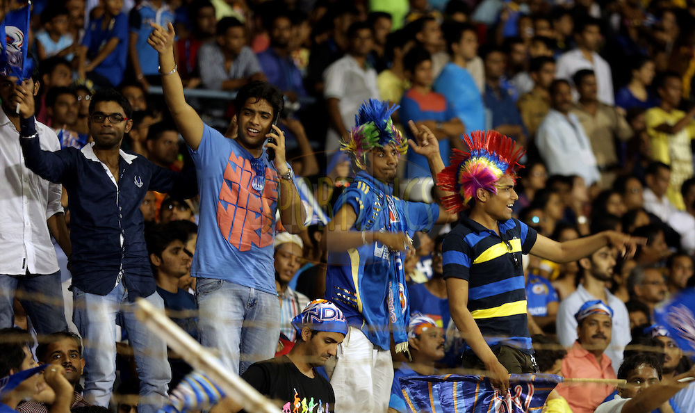 Fan's enjoys during the eliminator match of the Pepsi Indian Premier League Season 2014 between the Chennai Superkings and the Mumbai Indians held at the Brabourne Stadium, Mumbai, India on the 28th May  2014<br /> <br /> Photo by Sandeep Shetty / IPL / SPORTZPICS<br /> <br /> <br /> <br /> Image use subject to terms and conditions which can be found here:  http://sportzpics.photoshelter.com/gallery/Pepsi-IPL-Image-terms-and-conditions/G00004VW1IVJ.gB0/C0000TScjhBM6ikg