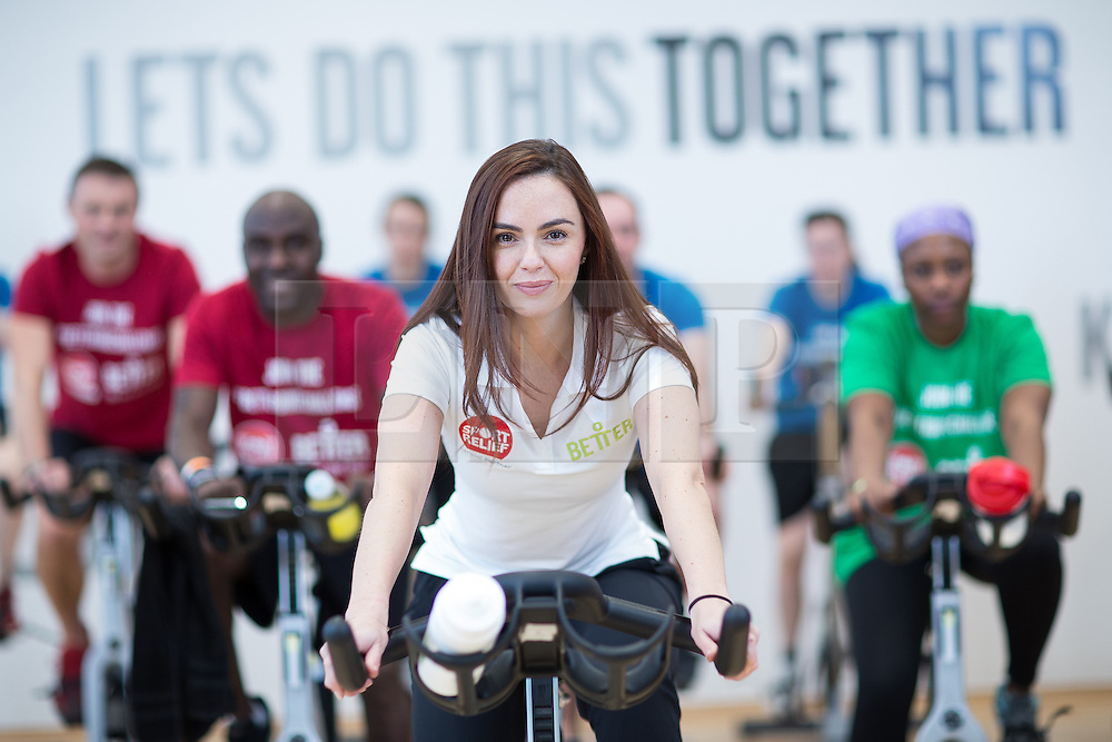 """© Licensed to London News Pictures . 01/03/2016 . Manchester , UK . Hollyoaks actress JENNIFER METCALFE (front) launches a national fundraiser , """" The Better Bike Challenge """" from the East Manchester Leisure Centre in Beswick . The Challenge features 10,000 people cycling one-mile , each donating £1 to #TeamBetter for Sport Relief . Photo credit : Joel Goodman/LNP"""