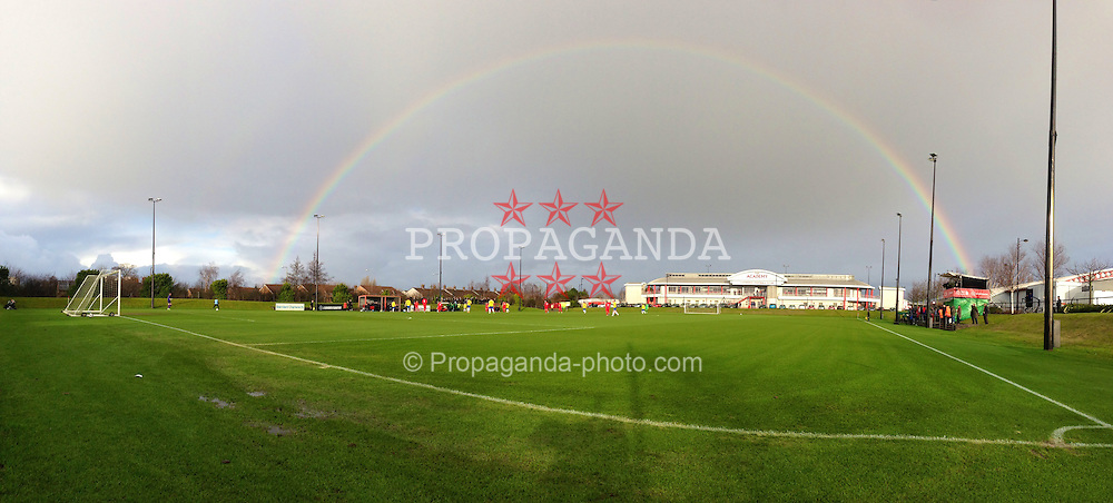 KIRKBY, ENGLAND - Monday, January 14, 2013: A panoramic view with a rainbow of the Kirkby Academy as Liverpool take on Southampton during the Under 21 FA Premier League match. (Pic by David Rawcliffe/Propaganda)