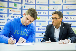 Nejc Plesko and Roman Dobnikar during press conference when Slovenian athletes and their coaches sign contracts with Athletic federation of Slovenia for year 2016, on February 25, 2016 in AZS, Ljubljana, Slovenia. Photo by Vid Ponikvar / Sportida