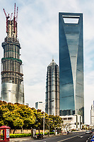 Shanghai, China - April 7, 2013: skyscrapers building towers pudong skyline at the city of Shanghai in China on april 7th, 2013