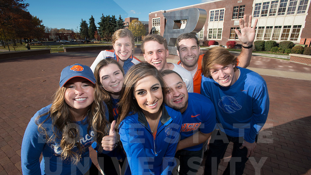 Student selfie group for billboard marketing campaign, I'm Ready to Be a Bronco, Carrie Quinney photo