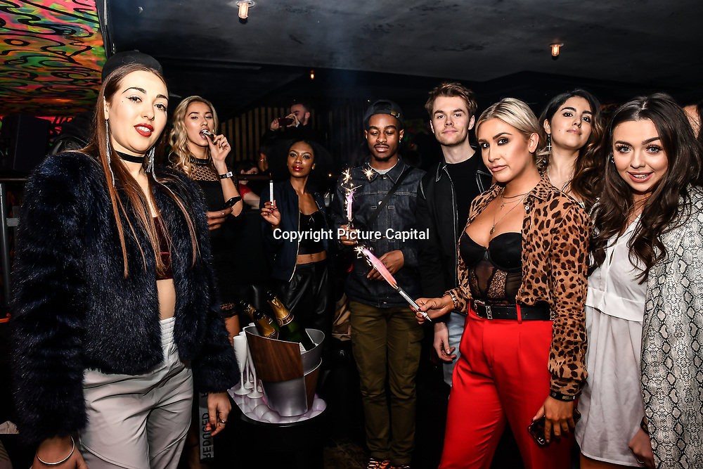Lilly Douse, Chloe Adlerstein, Frankie Maddin, Claudia Sowaha and Tonique Campbell attend Bachelor girls wrap party after Channel 5 serial of The Bachelor girls 2019 UK  17 desperate female complete to win Alex Marks. Five Eliminated girls continues enjoy the single life party at Balle Ballerson in fact, in the UK there are 1.1 millions female more than male on 27 March 2019, London, UK.