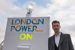 © Licensed to London News Pictures. 13/01/2020. LONDON, UK.  London, UK.  13 January 2020.  Stuart Jackson, CEO of Octopus Energy at the switch-on of a giant lightbulb in front of Tower Bridge to mark the launch of a brand new fair-priced, green energy company, available exclusively to Londoners to cut fuel bills and help make the capital a zero carbon city.    Photo credit: Stephen Chung/LNP