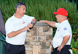 Former Ohio State head football coach Urban Myer and Former Ohio State running back Jeff Logan prior to the Chick-fil-A Peach Bowl Challenge at the Ritz Carlton Reynolds, Lake Oconee, on Tuesday, April 30, 2019, in Greensboro, GA. (Paul Abell via Abell Images for Chick-fil-A Peach Bowl Challenge)