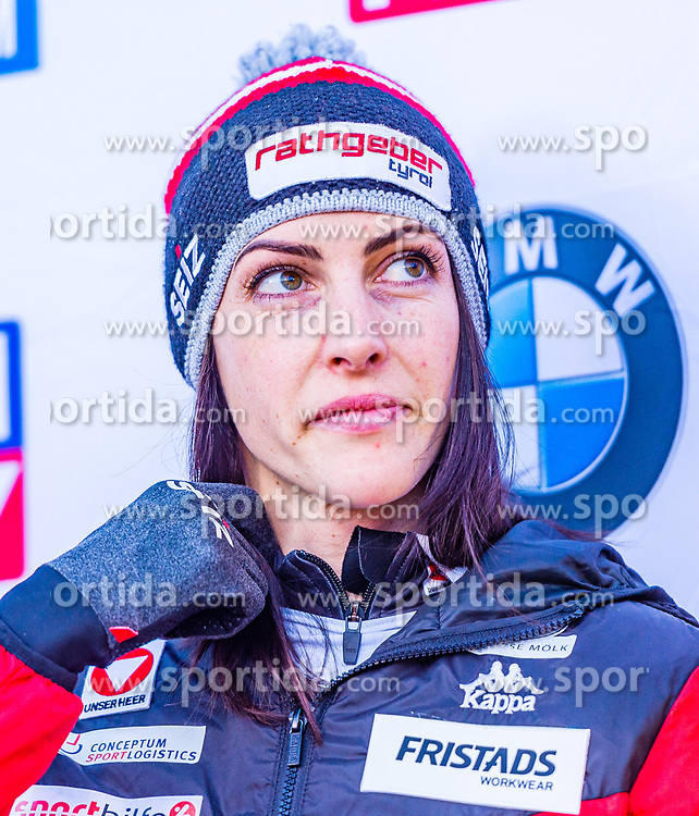 17.01.2020, Olympia Eiskanal, Innsbruck, AUT, BMW IBSF Weltcup Bob und Skeleton, Igls, Skeleton, Damen, 2. Lauf, im Bild Janine Flock (AUT) // Janine Flock of Austria reacts after her 2nd run of women's Skeleton competition of BMW IBSF World Cup at the Olympia Eiskanal in Innsbruck, Austria on 2020/01/17. EXPA Pictures © 2020, PhotoCredit: EXPA/ Stefan Adelsberger