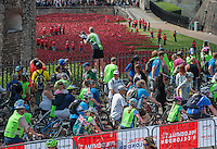 Prudential RideLondon Freecycle Riders pass the Tower of London and the installation in the moat Bloodswept Lands and Seas of Red, which marks the centenary of the outbreak of the First World War. Created by ceramic artist Paul Cummins, with setting by stage designer Tom Piper, 888,246 ceramic poppies will progressively fill the Tower&rsquo;s famous moat.<br /> Prudential RideLondon, the world&rsquo;s greatest festival of cycling, involving 70,000+ cyclists &ndash; from Olympic champions to a free family fun ride - riding in five events over closed roads in London and Surrey over the weekend of 9th and 10th August. <br /> <br /> Photo: David Ashdown for Prudential RideLondon<br /> <br /> See www.PrudentialRideLondon.co.uk for more.<br /> <br /> For further information: Penny Dain 07799 170433<br /> pennyd@ridelondon.co.uk <br /> Saturday 9th August 2014