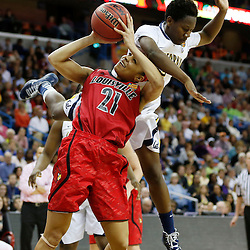April 7, 2013; New Orleans, LA, USA; Louisville Cardinals guard Bria Smith (21) shoots against California Golden Bears guard Afure Jemerigbe (2) during the second half in the semifinals during the 2013 NCAA womens Final Four at the New Orleans Arena. Mandatory Credit: Derick E. Hingle-USA TODAY Sports