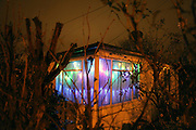 A prefab on the Excalibur estate at Christmas time in 2011. Post-war prefabricated house at the Excalibur Estate, in Catford, South London. The 186 uni-seco prefabs were built in 1946 by German and Italian prisoners of war.