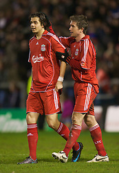 WARRINGTON, ENGLAND - Tuesday, February 26, 2008: Liverpool's Harry Kewell celebrates scoring the second goal aagainst Manchester United with team-mate Jordy Brouwer during the FA Premiership Reserves League (Northern Division) match at the Halliwell Jones Stadium. (Photo by David Rawcliffe/Propaganda)