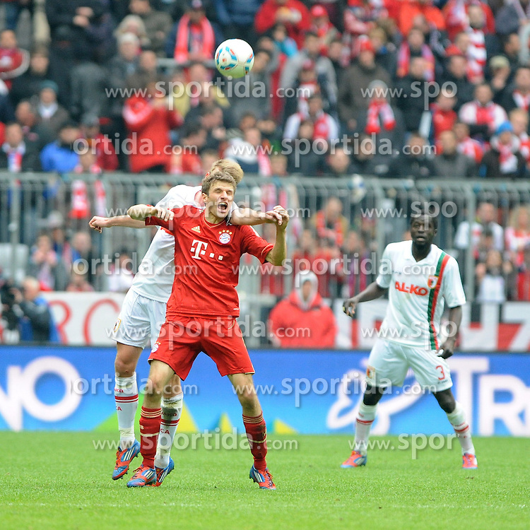 07.04.2012, Alianz Arena, Muenchen, GER, 1. FBL, FC Bayern Muenchen vs FC Augsburg, 29. Spieltag, im Bild Thomas MUELLER (FC Bayern Muenchen) // during the German Bundesliga Match, 29th Round between FC Bayern Munich and FC Augsburg at the Alianz Arena, Munich, Germany on 2012/04/07. EXPA Pictures © 2012, PhotoCredit: EXPA/ Eibner/ Wolfgang Stuetzle..***** ATTENTION - OUT OF GER *****
