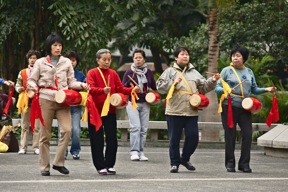 Women exercising in morning, Central district, Hong Kong