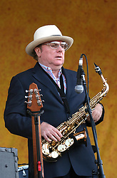 April 27 2007. New Orleans, Louisiana. <br /> The New Orleans Jazz and Heritage Festival. Big name star Van Morrison plays the Acura Stage from where he was able to wow the crowd. <br /> Photo credit; Charlie Varleyvarleypix.com
