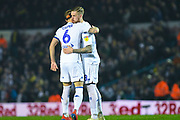 Liam Cooper of Leeds United (6) his Pontus Jansson of Leeds United (18) during the EFL Sky Bet Championship match between Leeds United and West Bromwich Albion at Elland Road, Leeds, England on 1 March 2019.