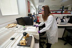 UK ENGLAND SANDWICH 25SEP14 - Laboratory chemist Zoe Loe analyses counterfeit medicine at the Pfizer counterfeit medication analysis lab in Sandwich, Kent, England.<br /> <br /> jre/Photo by Jiri Rezac<br /> <br /> &copy; Jiri Rezac 2014
