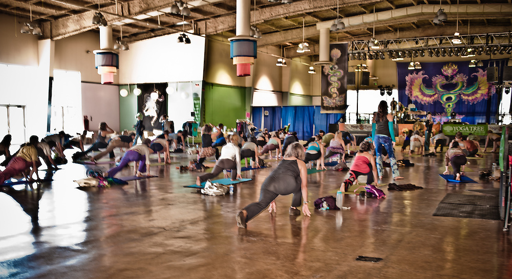 """Yoga class -- """"Morning Cup of Vinyasa with Pete Guinosso. Live music with Jesse Hendricks and Craig Kohland"""