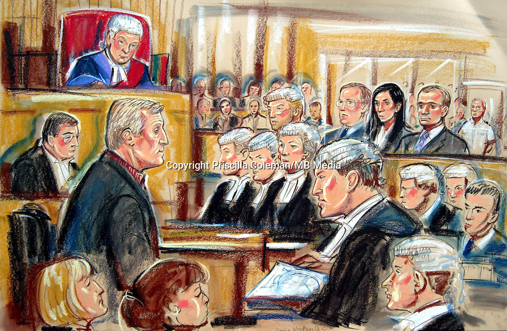 ©PRISCILLA COLEMAN (ITV)..PIC SHOWS: CHRIS TARRANT BEING QUESTIONED BY NICHOLAS HILLIARD QC DURING THE TRIAL OF THE INGRAMS AND WHIITOCK OVER THE ALLEGED FRAUD OF WHO WANTS TO BE A MILLIONAIRE...ARTWORK BY: PRISCILLA COLEMAN (ITV)