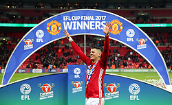 Marcos Rojo of Manchester United celebrates winning the EFL Trophy - Mandatory by-line: Matt McNulty/JMP - 26/02/2017 - FOOTBALL - Wembley Stadium - London, England - Manchester United v Southampton - EFL Cup Final