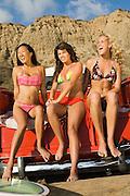 Three Young Women in Bikinis