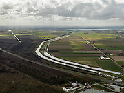 Nederland, Noord-Holland, Gemeente Wieringermeer, 16-04-2012. Wieringermeer met Robbenoordbos en rijksweg A7. Amstelmeerkanaal met rechts daar van polder Waard en Nieuwland. Onder in beeld gemaal Leemans..Wieringmeer polder,  newly created land 1927, part of the Zuiderzee Works...luchtfoto (toeslag), aerial photo (additional fee required);.copyright foto/photo Siebe Swart