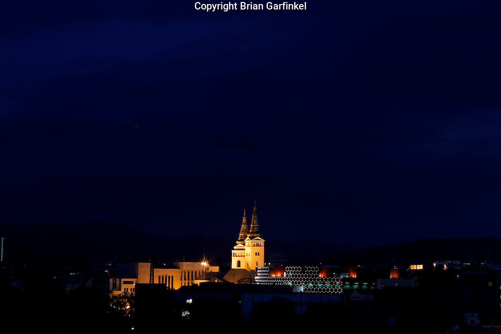 A Church at night from the hotel in Zilina, Slovakia on Wednesday July 6th 2011.  (Photo by Brian Garfinkel)