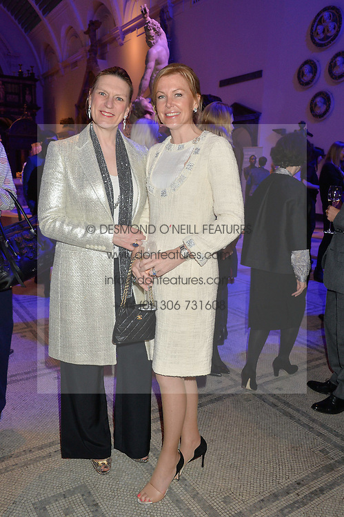 Left to right, diamond expert JOANNA HARDY and EIMEAR COOK at a private view of Alexander McQueen's Savage Beauty exhibition hosted by Samsung BlueHouse at the V&A, London on 30th March 2015.