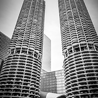 Chicago tour boat on the Chicago River by Marina City Towers.