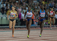 Athletics - 2017 IAAF London World Athletics Championships - Day Nine, Evening Session<br /> <br /> Womens 4 x 100m Relay<br /> <br /> Team USA Tori Bowie on the anchor leg leads the team home followed by Daryll Nieta (Great Britain at the London Stadium<br /> <br /> COLORSPORT/DANIEL BEARHAM