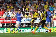 Burton Albion striker Sean Scannell (9) shoots but it is saved by Sheffield Wednesday goalkeeper Joe Wildsmith (28) during the EFL Sky Bet Championship match between Burton Albion and Sheffield Wednesday at the Pirelli Stadium, Burton upon Trent, England on 26 August 2017. Photo by Richard Holmes.
