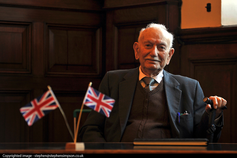"""© Licensed to London News Pictures. 02/02/2012, Kingston Upon Thames,UK. 104 year-old becomes Britain's oldest new citizen. 104 year-old TAUFEEK KHANJAR became a British Citizen at a cceremony held by Surrey County Council today (01 February 2012). Mr Khanjar is originally from Iraq and worked as a jewellery maker in Baghdad. He came to the UK six years ago to live with his daughter Nada Dabis, 59, in South Cheam, Surrey, where he enjoys walking, feeding the birds, playing cards and listening to music. He is a widower with four sons and two daughters. Durning the ceremony Mr Khanjar took an oath to the Queen, pledging that he will be a faithful citizen and obey the laws of the country. He explained the secret to a long and healthy life was to """"never get stressed and be relaxed"""".  Photo credit : Stephen Simpson/LNP"""
