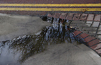 Double yellow lines and puddle with  a reflection of trees in Dublin Ireland
