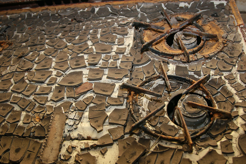 Dried mud on a stove in a home destoryed by Hurricane Katrina in New Orleans lower 9th Ward,