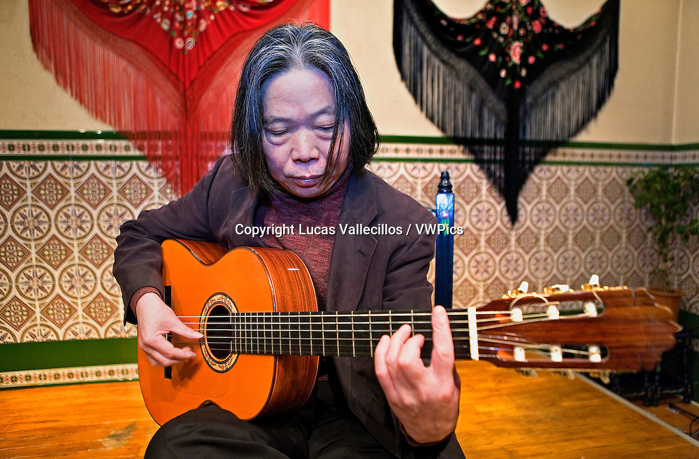"Teruo Kabaya; the first flamenco businessman in Japan. He is also flamenco guitarist. In his ""tablao"".Tokyo, Japan"