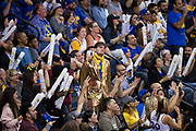 Golden State Warriors fans dance during a timeout against the Houston Rockets at Oracle Arena in Oakland, Calif., on March 31, 2017. (Stan Olszewski/Special to S.F. Examiner)