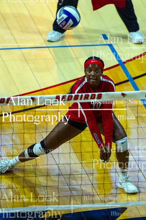 BLOOMINGTON, IL - September 14: Kendee Hillard during a college Women's volleyball match between the ISU Redbirds and the University of Central Florida (UCF) Knights on September 14 2019 at Illinois State University in Normal, IL. (Photo by Alan Look)