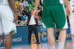 Team Union Olimpija head coach Saso Filipovski during basketball match between KK Union Olimpija and KK Krka in 4nd Final match of Telemach Slovenian Champion League 2011/12, on May 24, 2012 in Arena Stozice, Ljubljana, Slovenia. Krka defeated Union Olimpija 65-55. (Photo by Grega Valancic / Sportida.com)