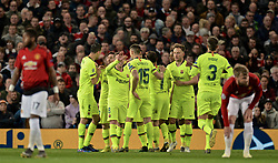 MANCHESTER, ENGLAND - Thursday, April 11, 2019: Barcelona players celebrate after the only goal of the game, a Manchester United own-goal, during the UEFA Champions League Quarter-Final 1st Leg match between Manchester United FC and FC Barcelona at Old Trafford. Barcelona won 1-0. (Pic by David Rawcliffe/Propaganda)