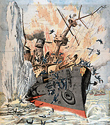 Russo-Japanese War 1904-1905: Russian ironclad  'Petropavlosk' sunk by Japanese torpedo with loss of 600 lives, including Admiral Makharoff or Makarov, 13 April 1904. From 'Le Petit Journal', Paris,  24 April 1904.