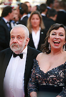 Director Mike Leigh and Actress Marion Bailey at the the Mr. Turner gala screening red carpet at the 67th Cannes Film Festival France. Thursday 15th May 2014 in Cannes Film Festival, France.
