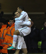Picture by David Horn/Focus Images Ltd +44 7545 970036.28/11/2012.Aaron Lennon (right) of Tottenham Hotspur celebrates scoring with Gareth Bale of Tottenham Hostspur during the Barclays Premier League match at White Hart Lane, London.