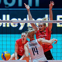 09–01-2020 NED: Olympic qualification tournament women, Apeldoorn<br /> Croatia - Belgium / Martina Samadan #14 of Croatia, Dominika Sobolska #10 of Belgium